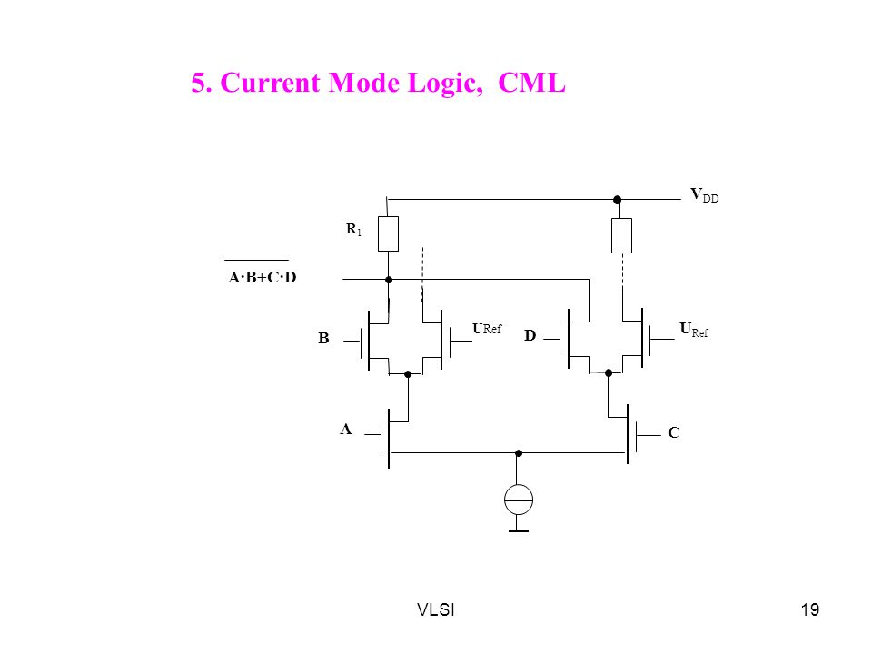 5. Current Mode Logic, CML VDD R1 A·B+C·D URef URef B D A C VLSI