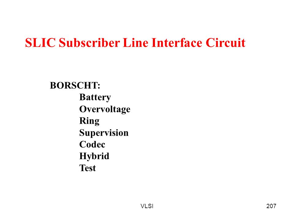 SLIC Subscriber Line Interface Circuit
