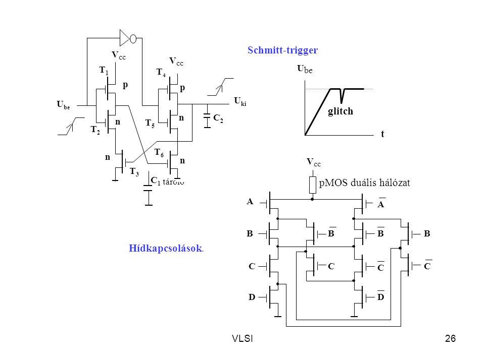 Schmitt-trigger glitch t pMOS duális hálózat Hídkapcsolások. Vcc Vcc
