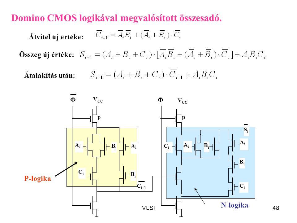 Domino CMOS logikával megvalósított összesadó.