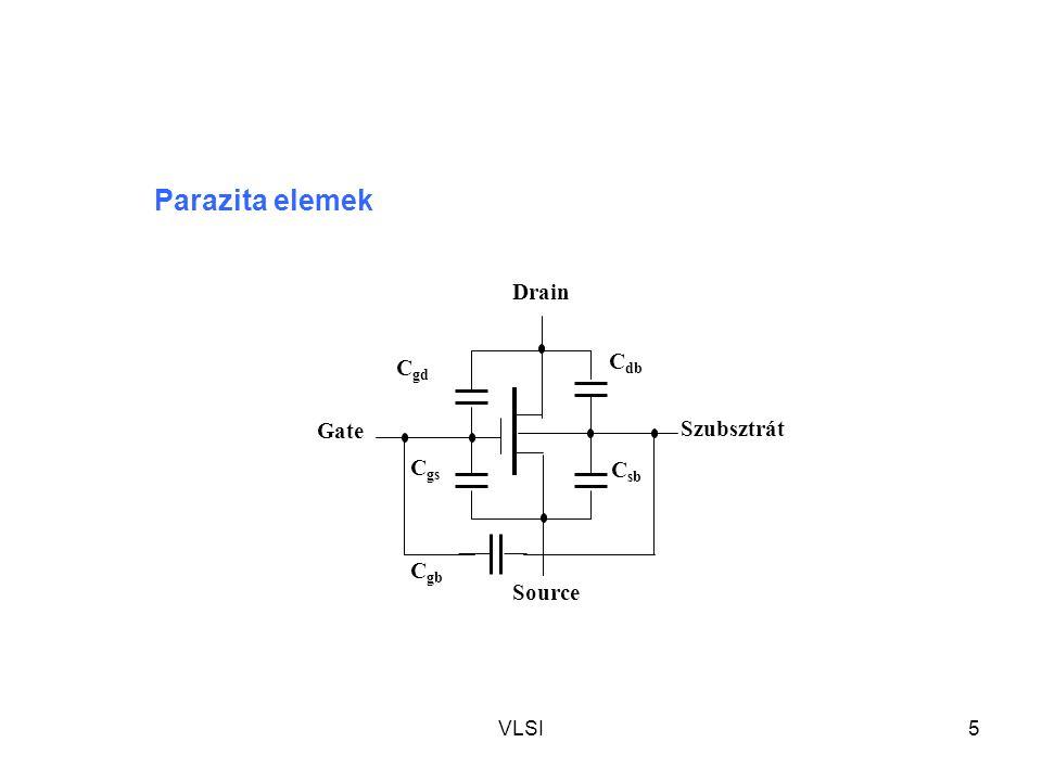 Parazita elemek Drain Gate Szubsztrát Source Cdb Cgb Csb Cgs Cgd VLSI
