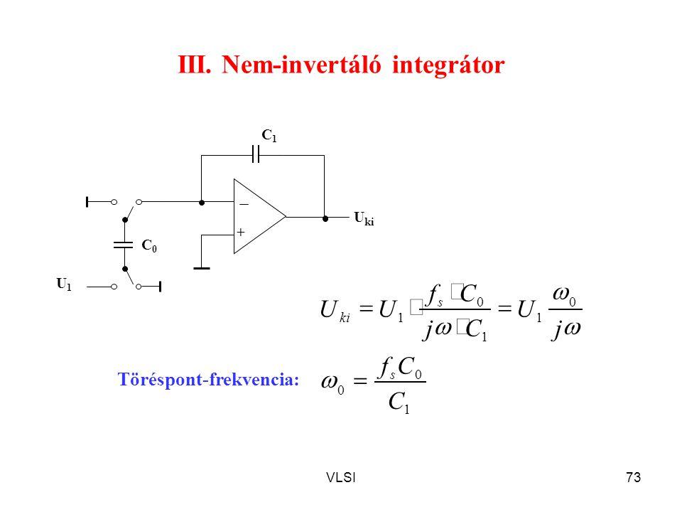 III. Nem-invertáló integrátor