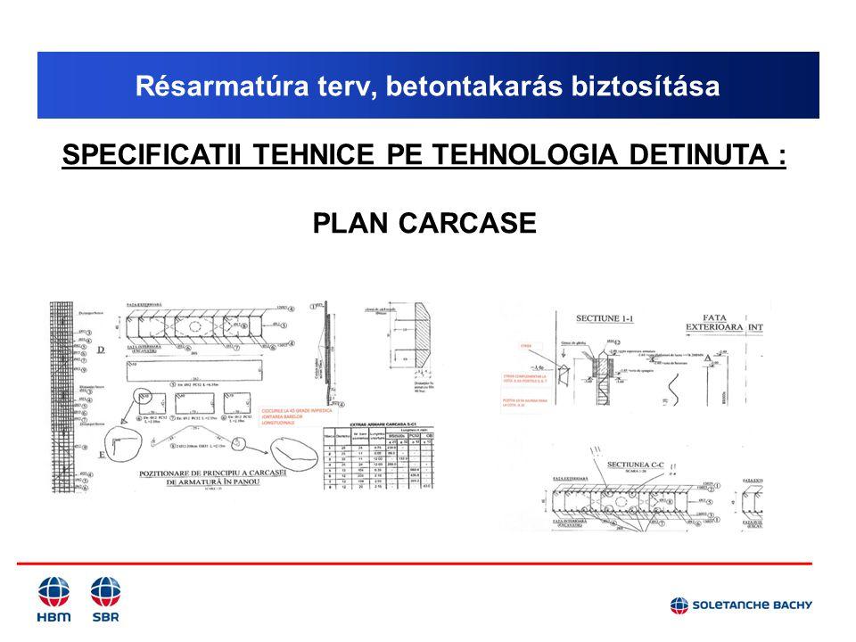 Résarmatúra terv, betontakarás biztosítása