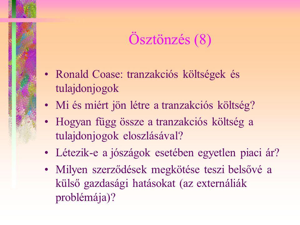 Ösztönzés (8) Ronald Coase: tranzakciós költségek és tulajdonjogok