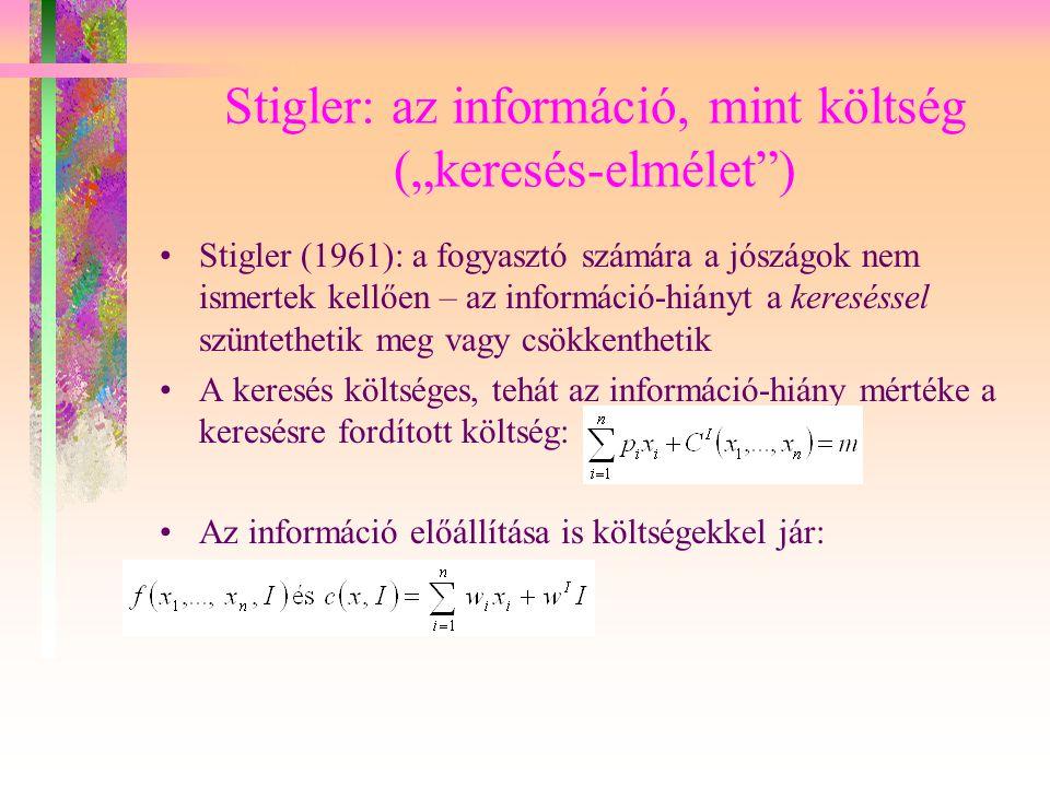"""Stigler: az információ, mint költség (""""keresés-elmélet )"""