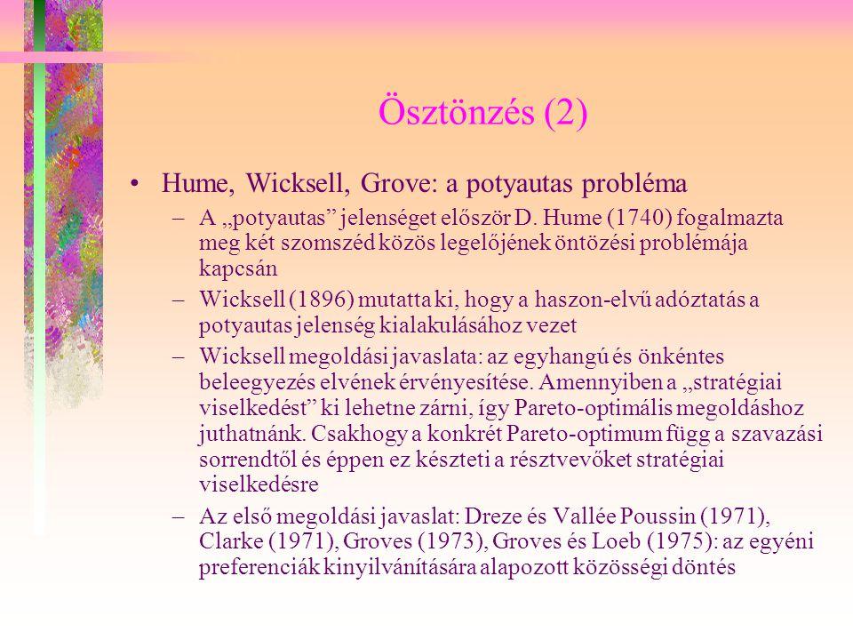 Ösztönzés (2) Hume, Wicksell, Grove: a potyautas probléma