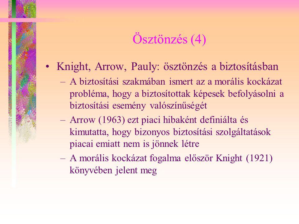Ösztönzés (4) Knight, Arrow, Pauly: ösztönzés a biztosításban