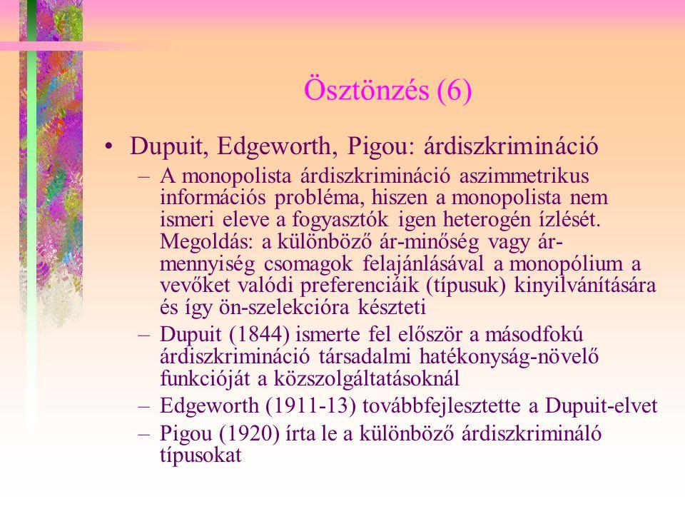 Ösztönzés (6) Dupuit, Edgeworth, Pigou: árdiszkrimináció