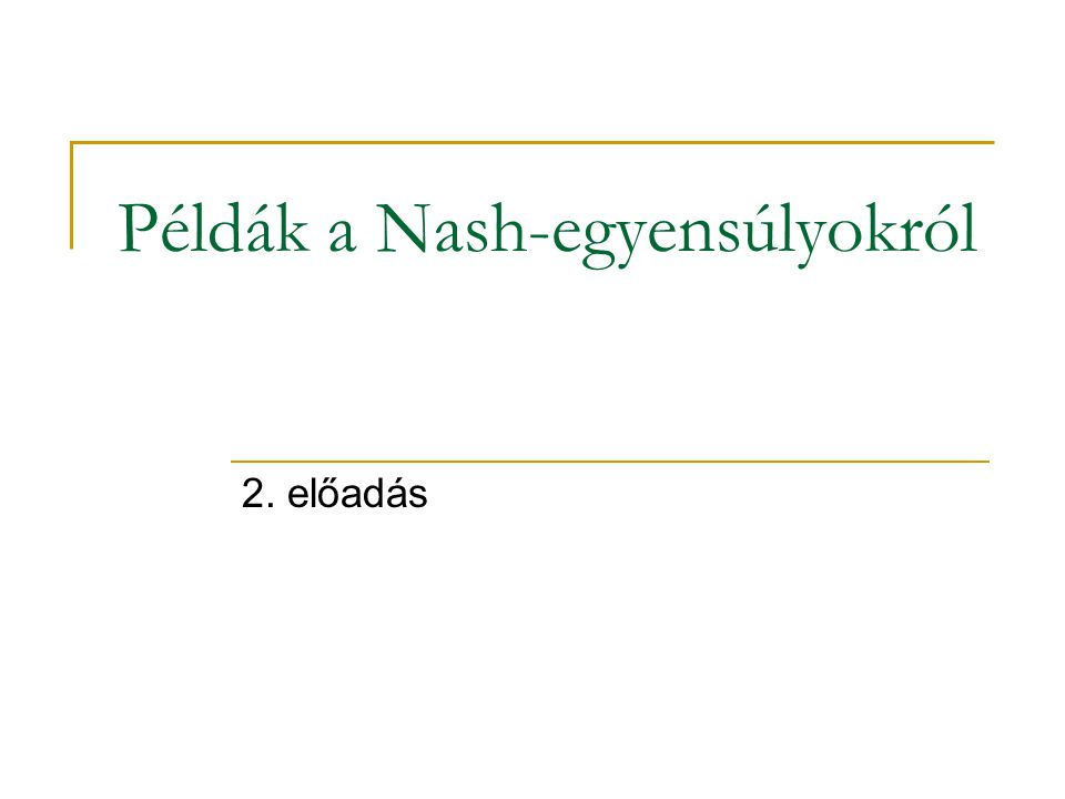 Példák a Nash-egyensúlyokról