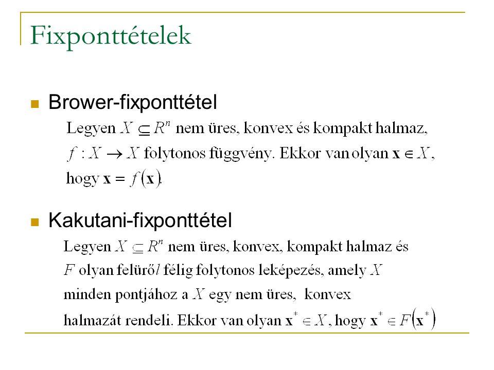 Fixponttételek Brower-fixponttétel Kakutani-fixponttétel