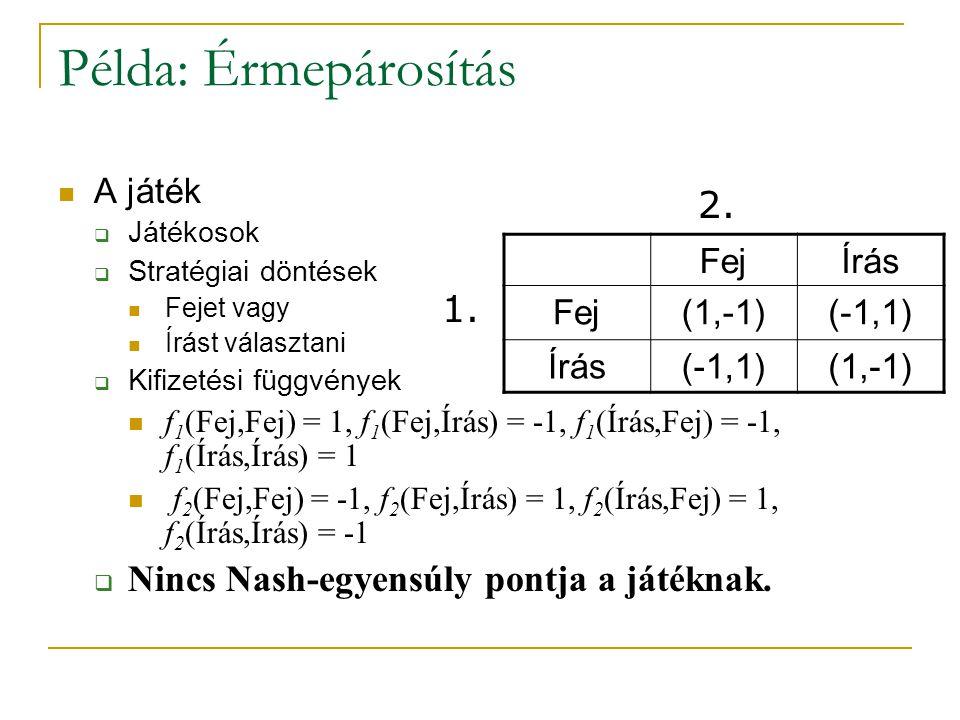 Példa: Érmepárosítás 2. 1. Nincs Nash-egyensúly pontja a játéknak.