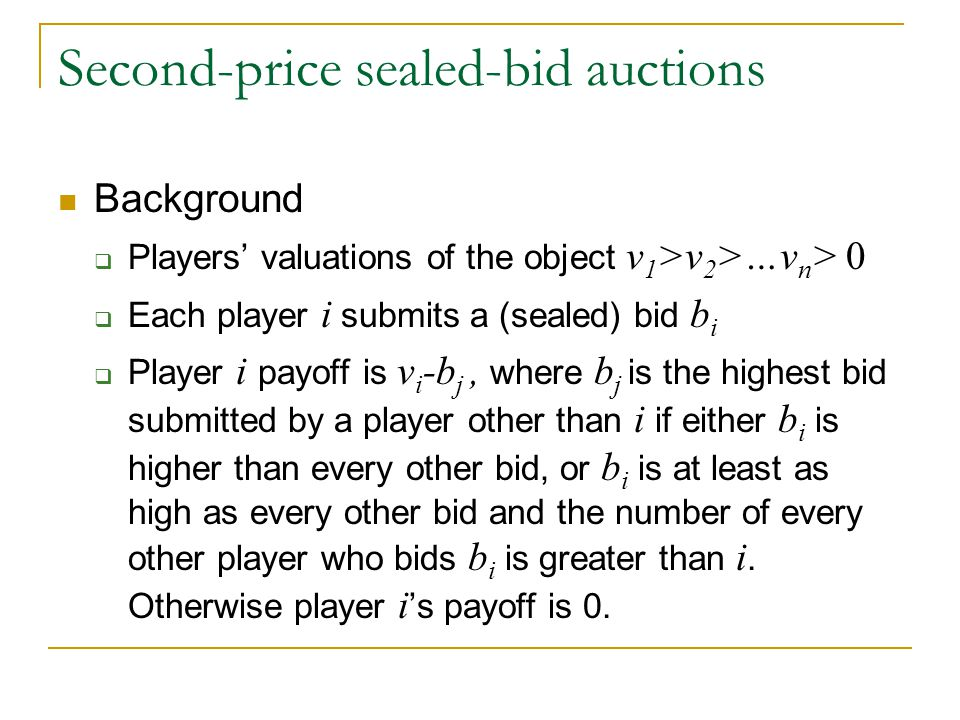 Second-price sealed-bid auctions