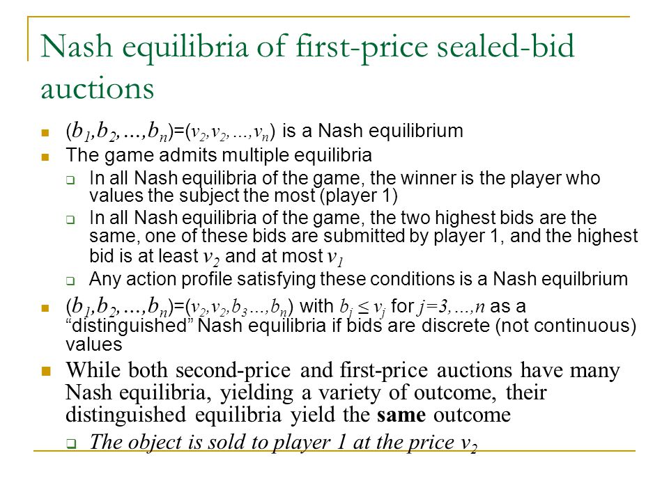 Nash equilibria of first-price sealed-bid auctions