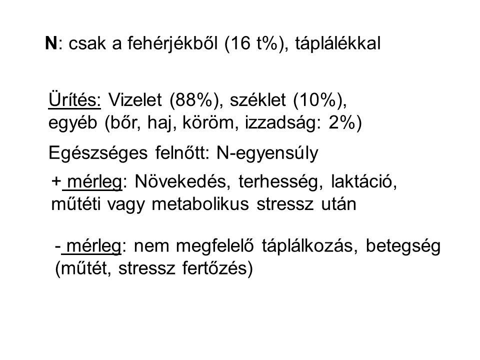 N: csak a fehérjékből (16 t%), táplálékkal