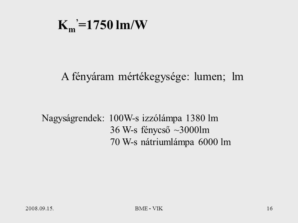 Km'=1750 lm/W A fényáram mértékegysége: lumen; lm