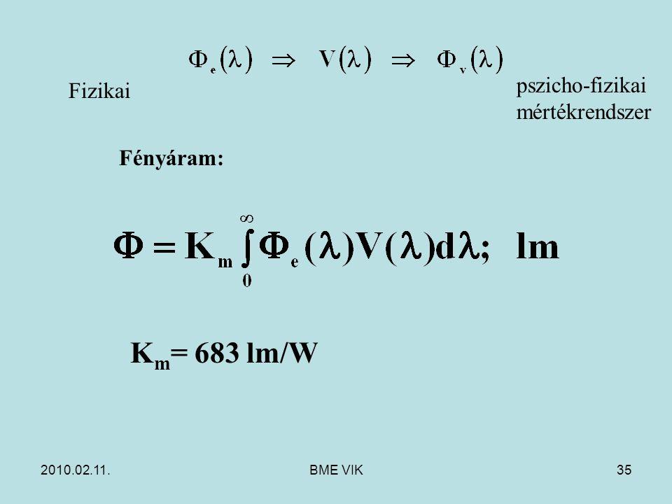 Km= 683 lm/W pszicho-fizikai mértékrendszer Fizikai Fényáram: