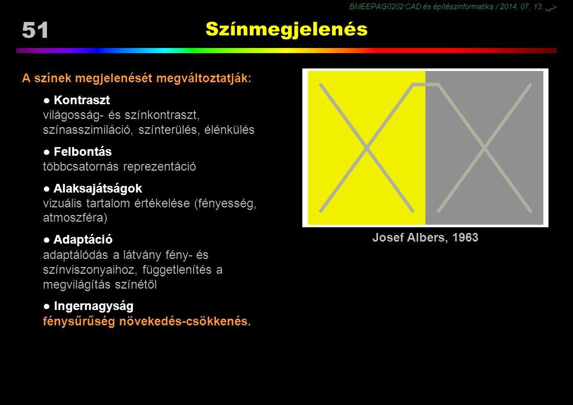 Színmegjelenés A színek megjelenését megváltoztatják: ● Kontraszt