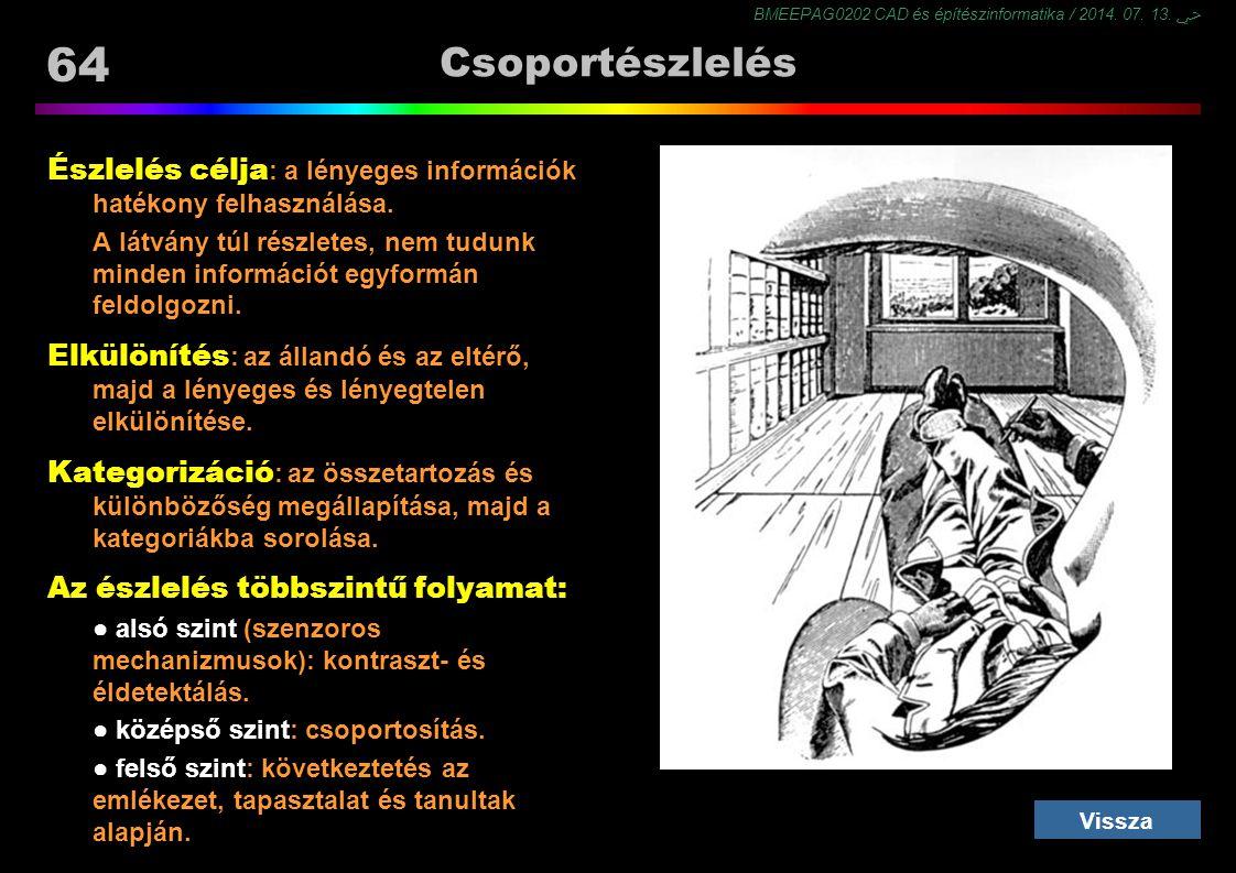 Csoportészlelés Észlelés célja: a lényeges információk hatékony felhasználása.