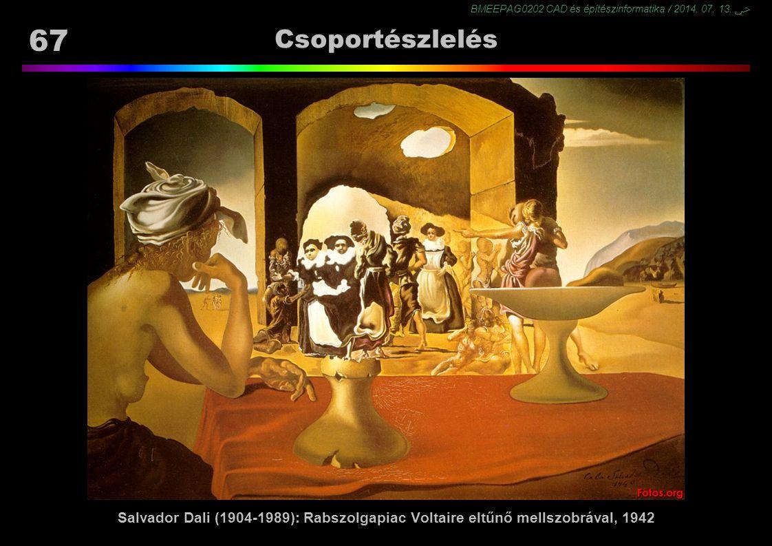 Csoportészlelés Salvador Dali (1904-1989): Rabszolgapiac Voltaire eltűnő mellszobrával, 1942
