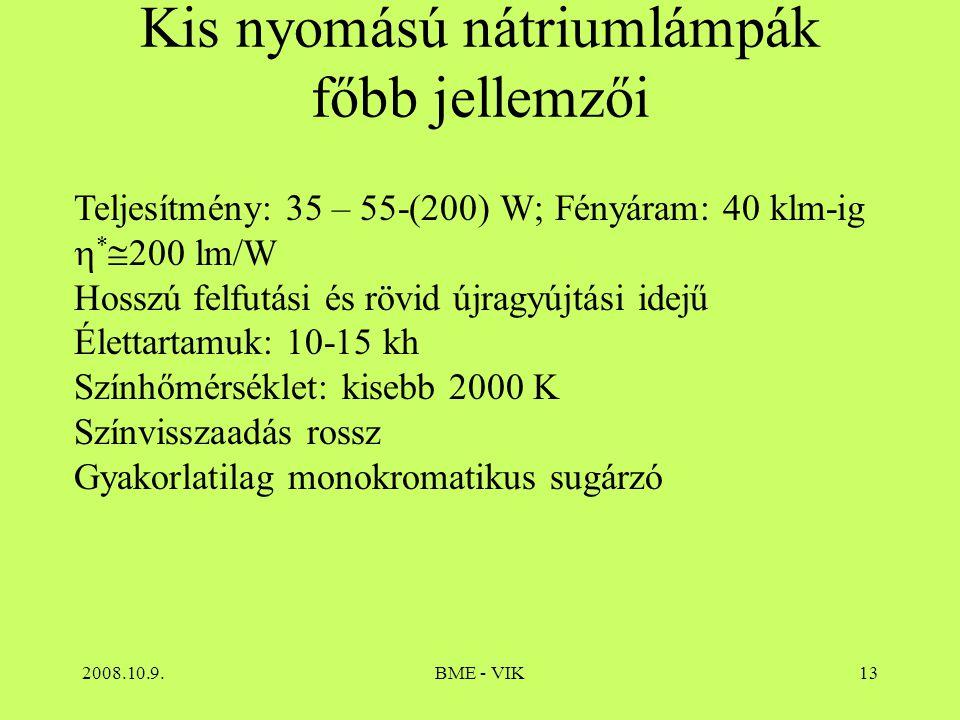 Kis nyomású nátriumlámpák főbb jellemzői