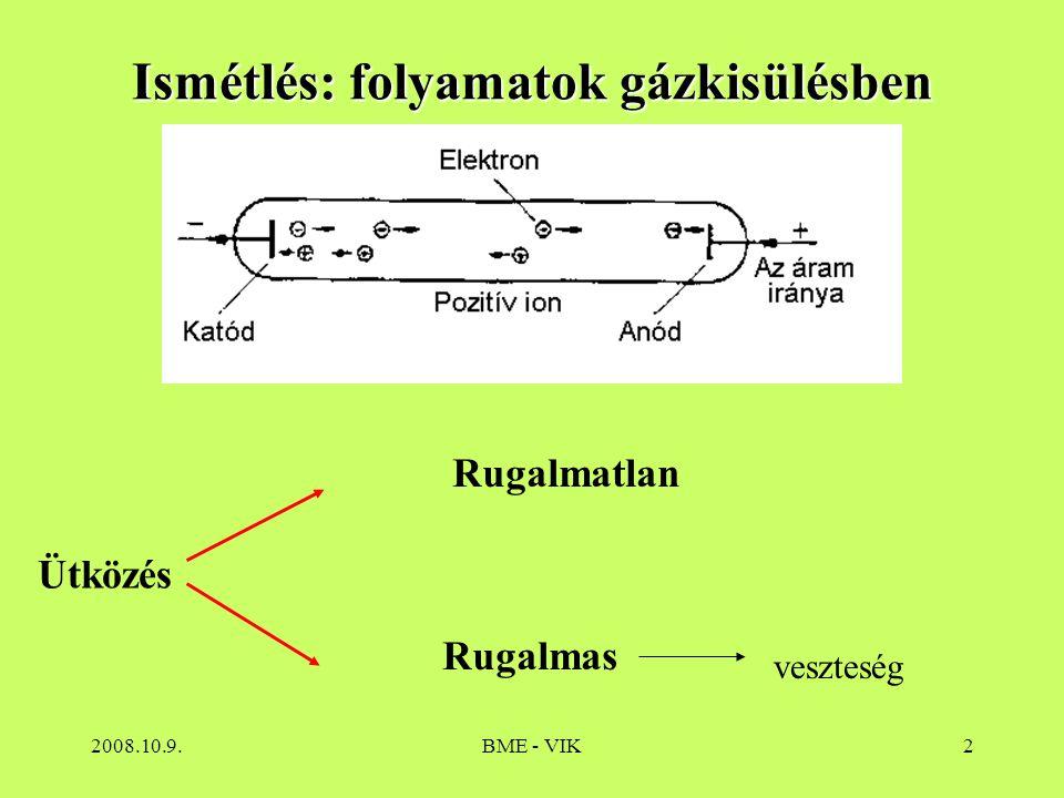 Ismétlés: folyamatok gázkisülésben