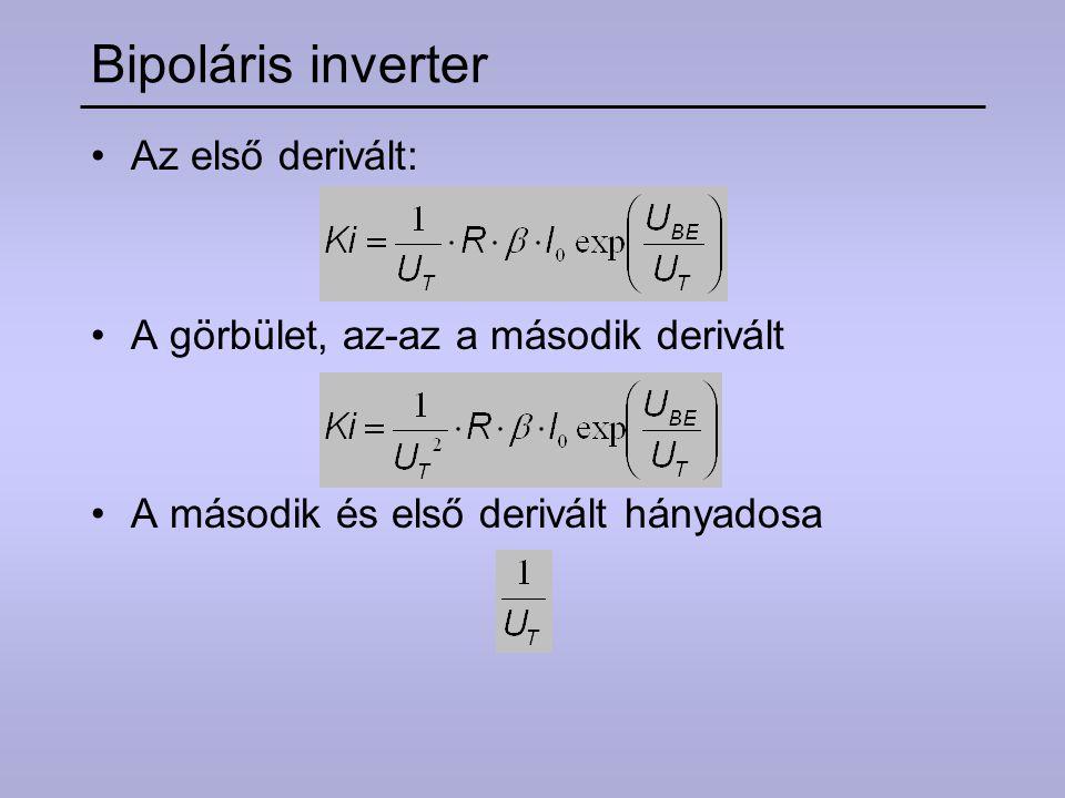 Bipoláris inverter Az első derivált: