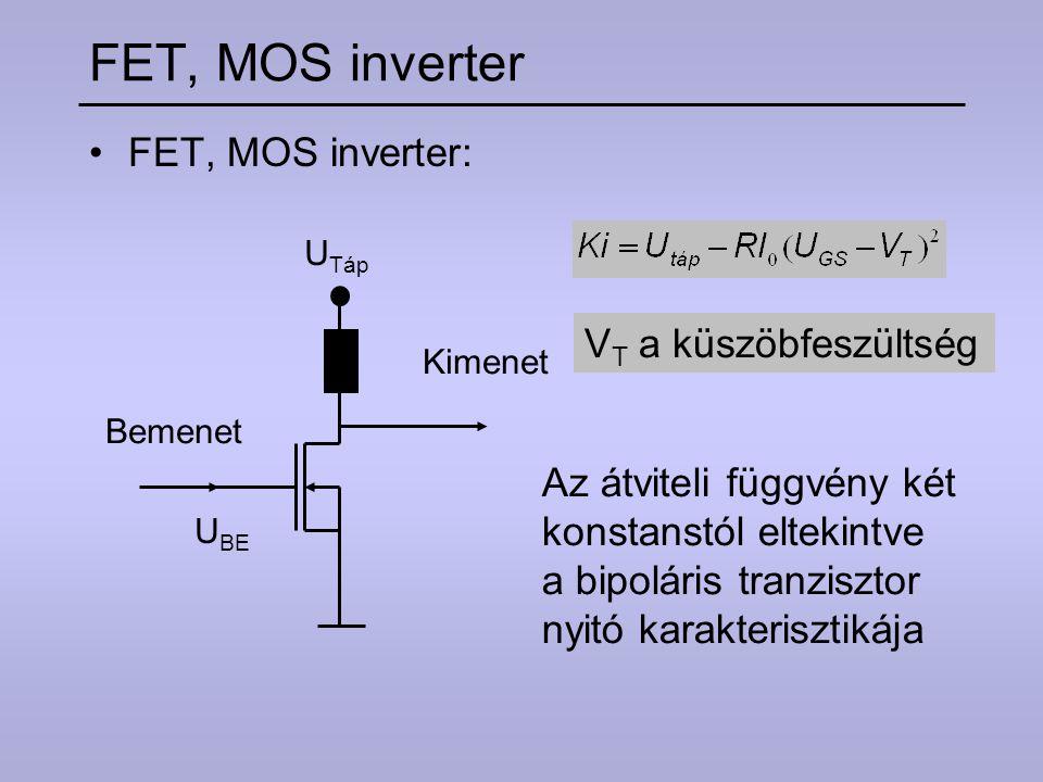 FET, MOS inverter FET, MOS inverter: VT a küszöbfeszültség