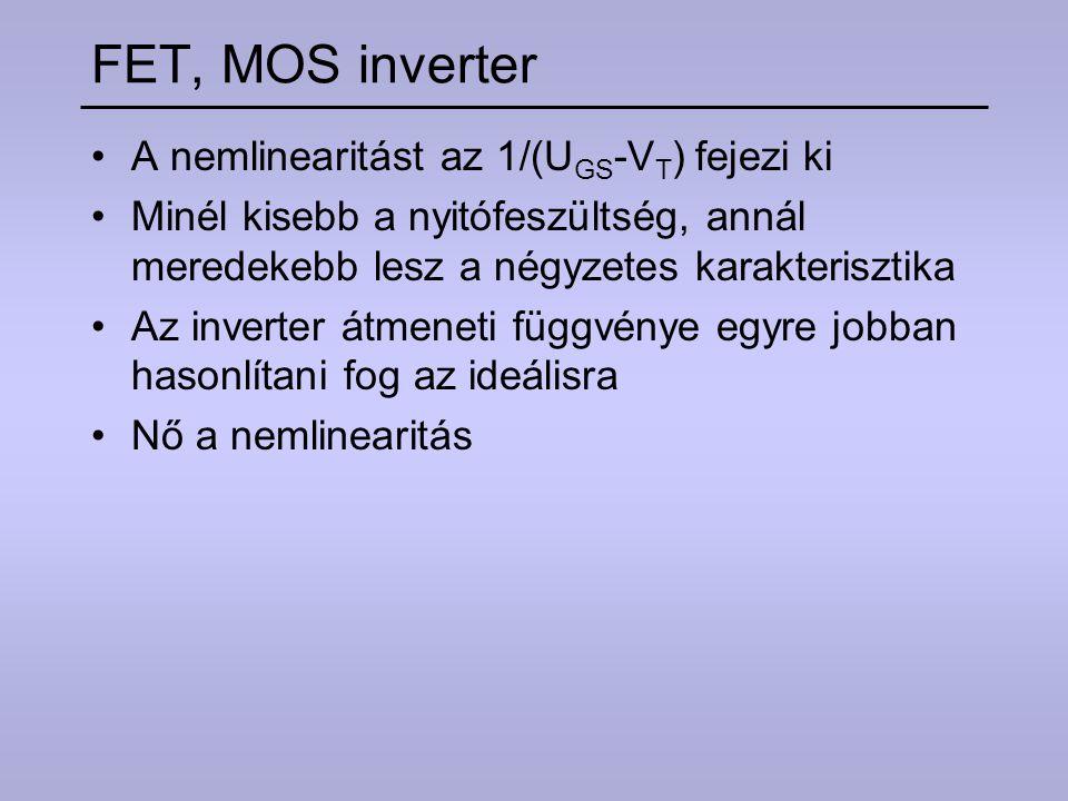 FET, MOS inverter A nemlinearitást az 1/(UGS-VT) fejezi ki