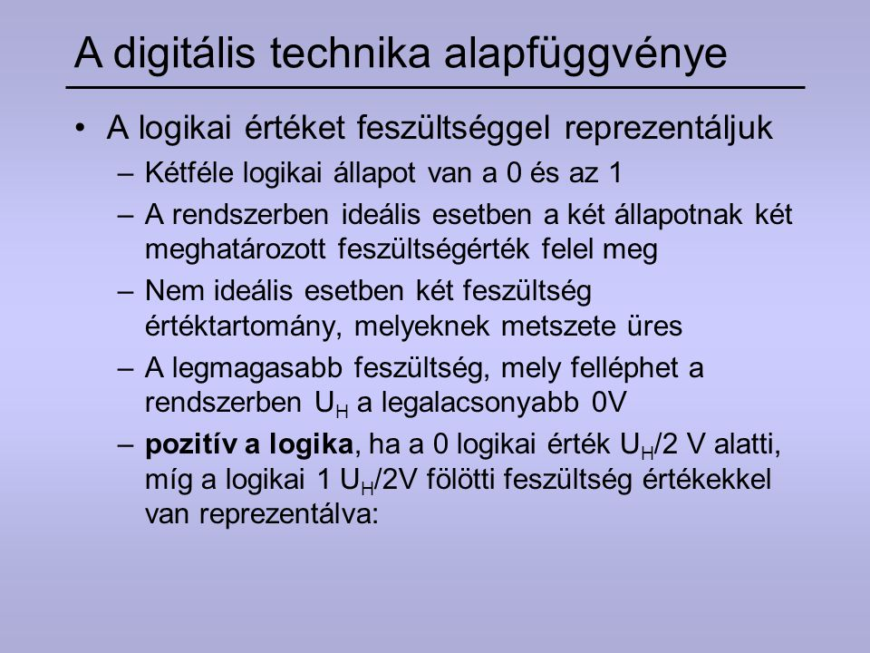 A digitális technika alapfüggvénye