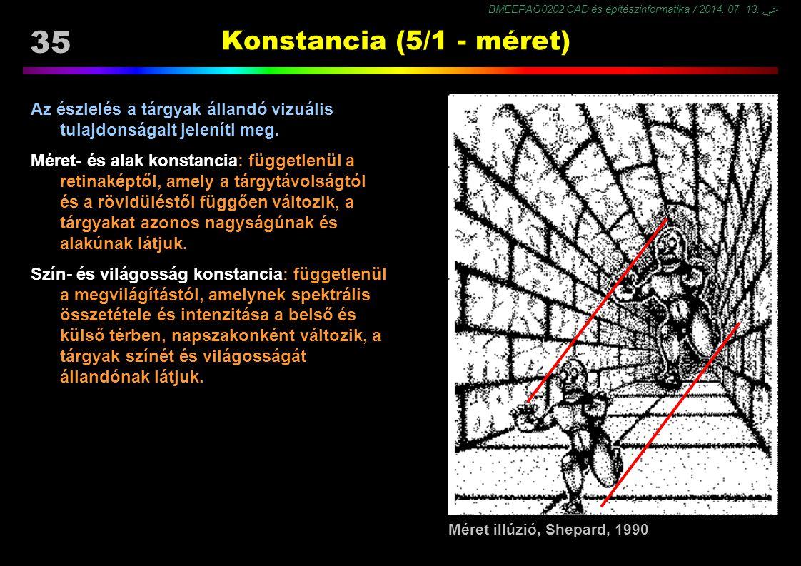 Konstancia (5/1 - méret) Az észlelés a tárgyak állandó vizuális tulajdonságait jeleníti meg.