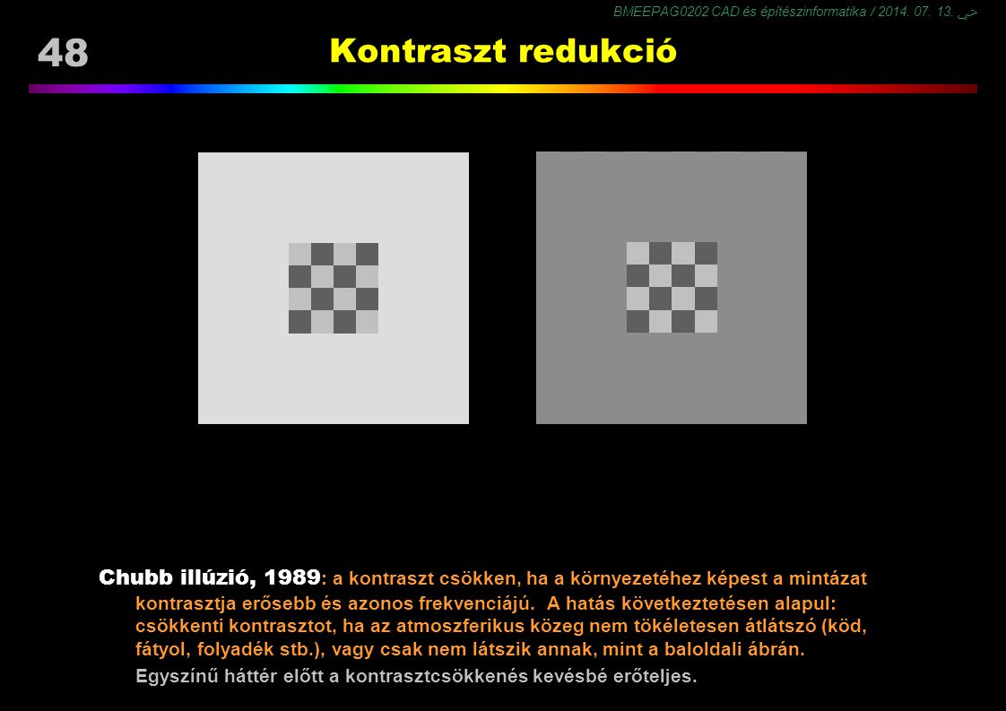 Kontraszt redukció Chubb C, Sperling G, Solomon JA(1989). Texture interactions determine perceived contrast. Proc Natl Acad Sci USA 86:9631–9635.