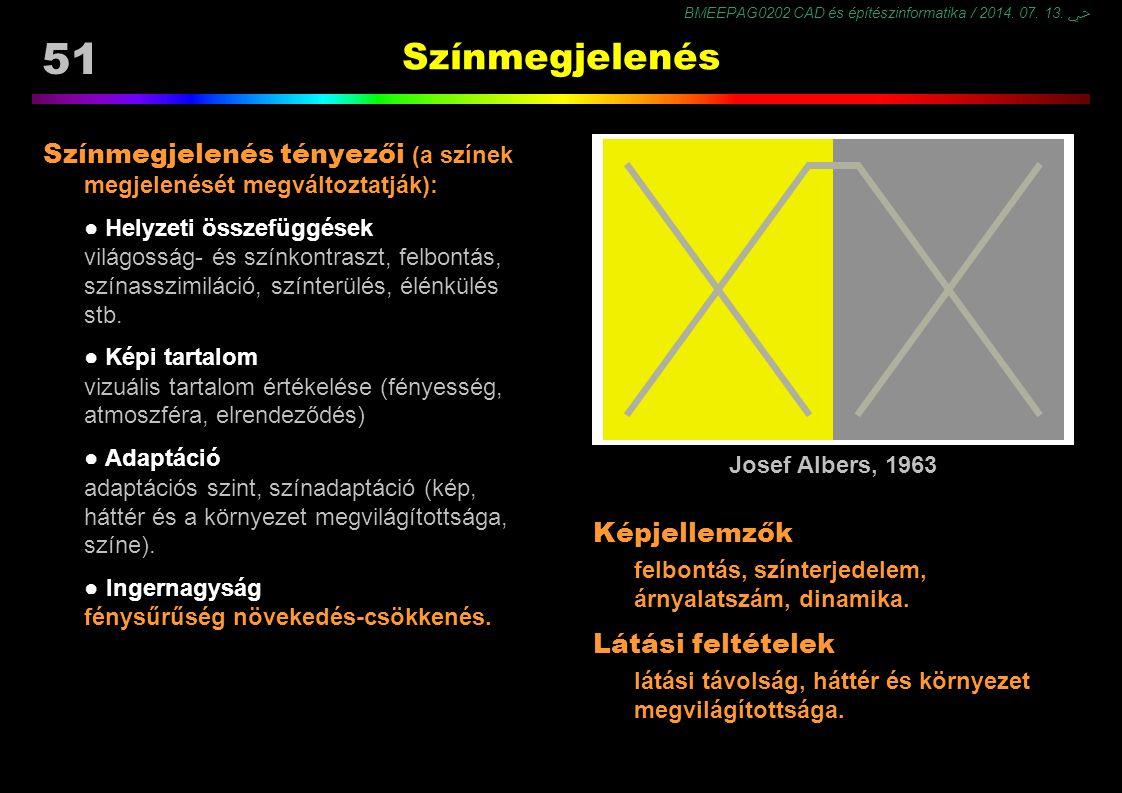 Színmegjelenés Színmegjelenés tényezői (a színek megjelenését megváltoztatják): ● Helyzeti összefüggések.