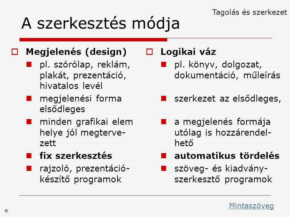 A szerkesztés módja Megjelenés (design)