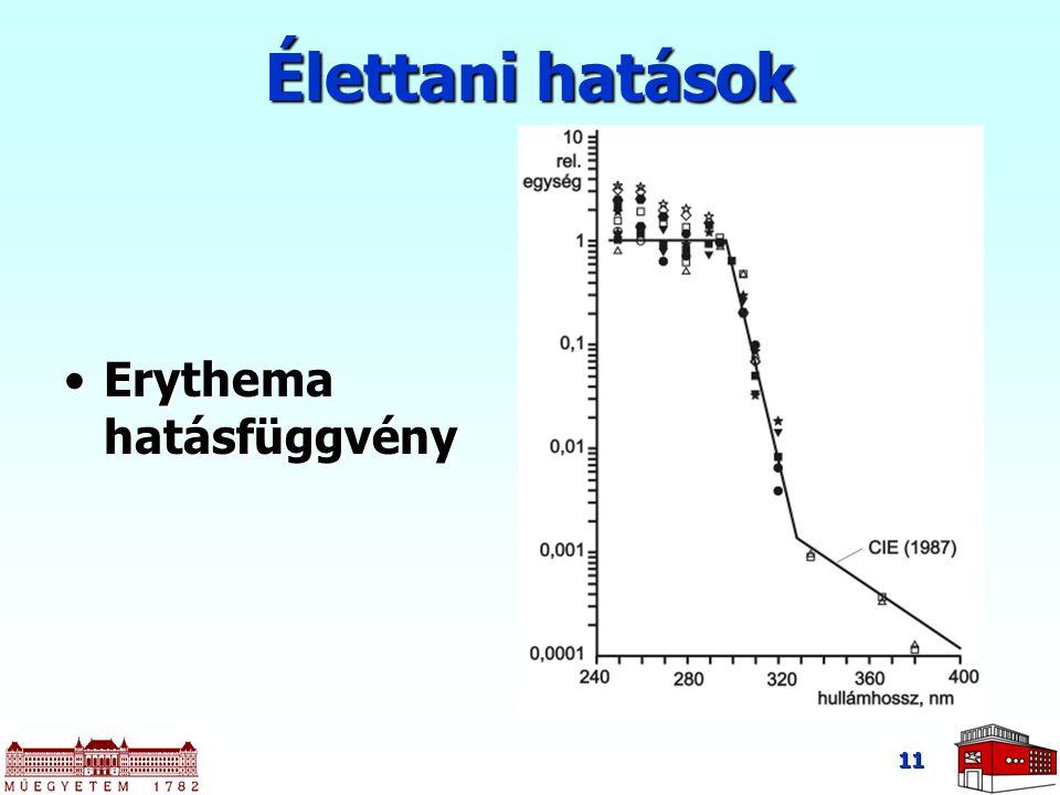 Élettani hatások Erythema hatásfüggvény