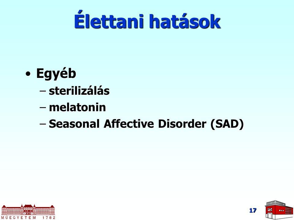 Élettani hatások Egyéb sterilizálás melatonin