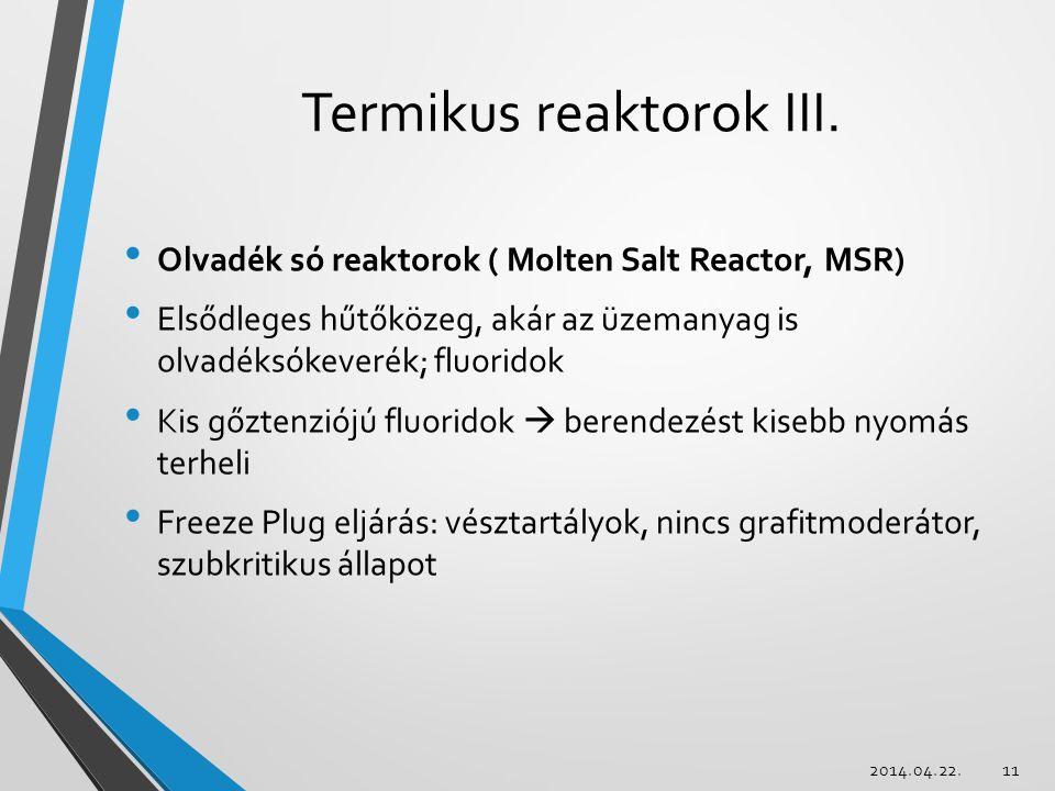 Termikus reaktorok III.