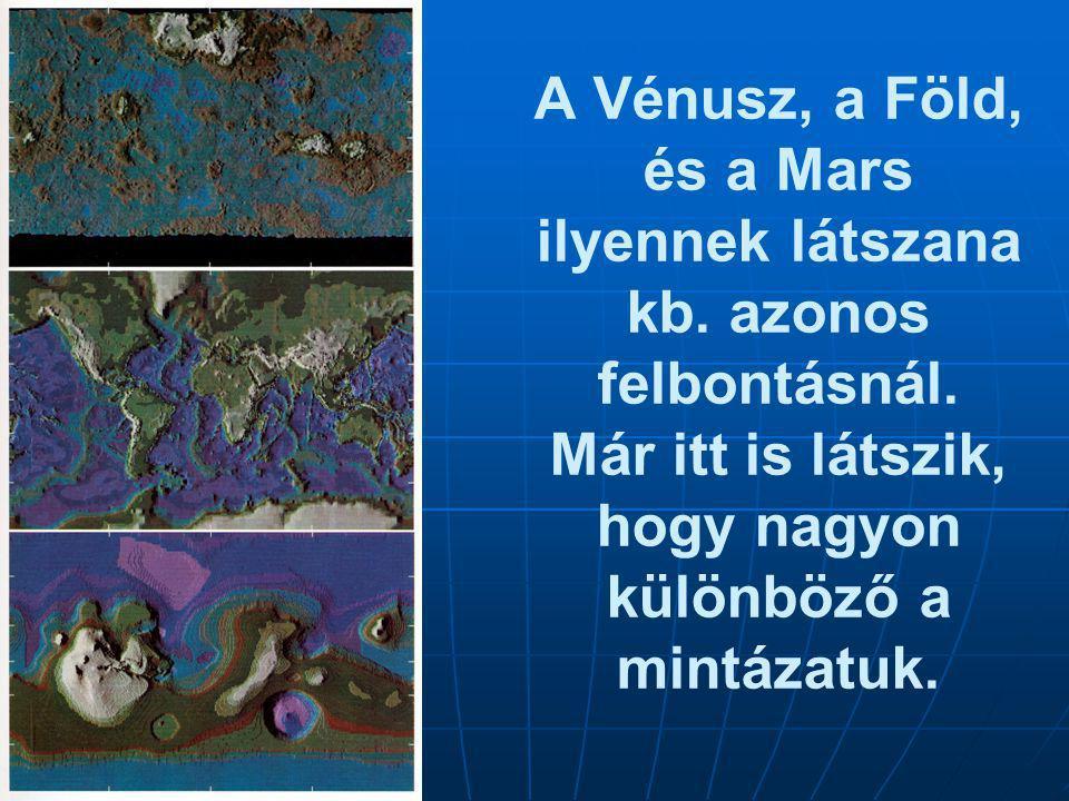 A Vénusz, a Föld, és a Mars ilyennek látszana kb. azonos felbontásnál