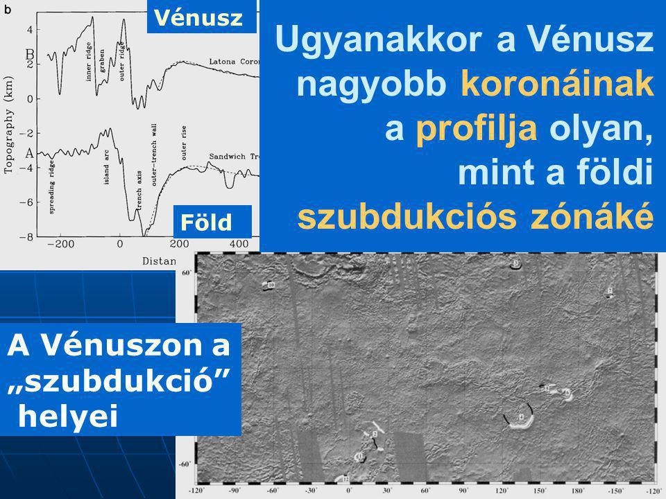 Vénusz Ugyanakkor a Vénusz nagyobb koronáinak a profilja olyan, mint a földi szubdukciós zónáké. Föld.