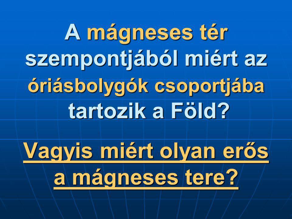 A mágneses tér szempontjából miért az óriásbolygók csoportjába tartozik a Föld.