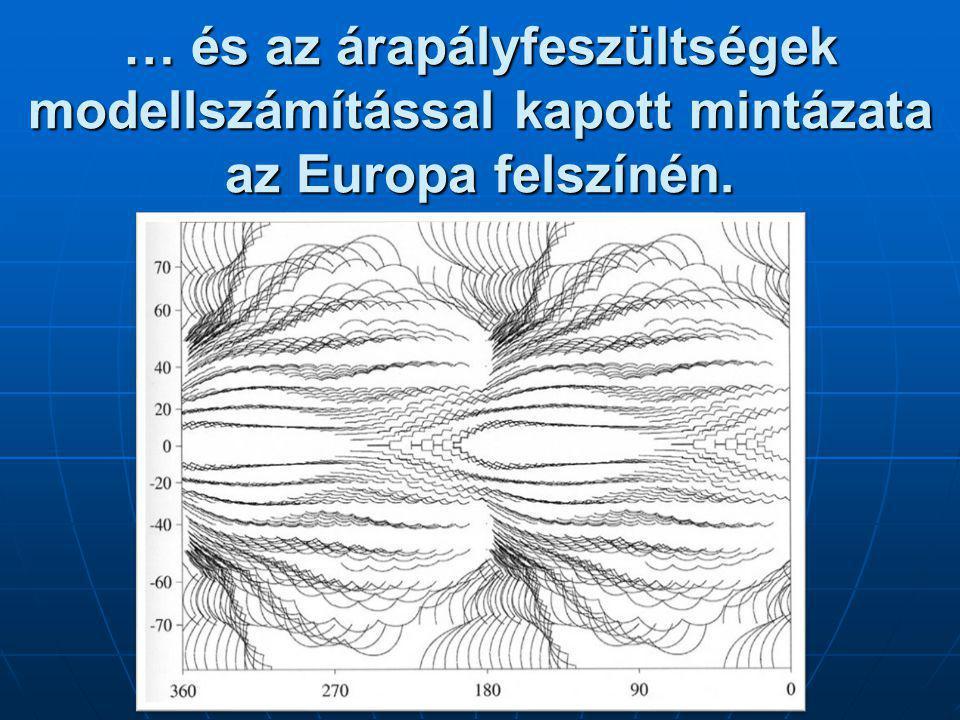 … és az árapályfeszültségek modellszámítással kapott mintázata az Europa felszínén.