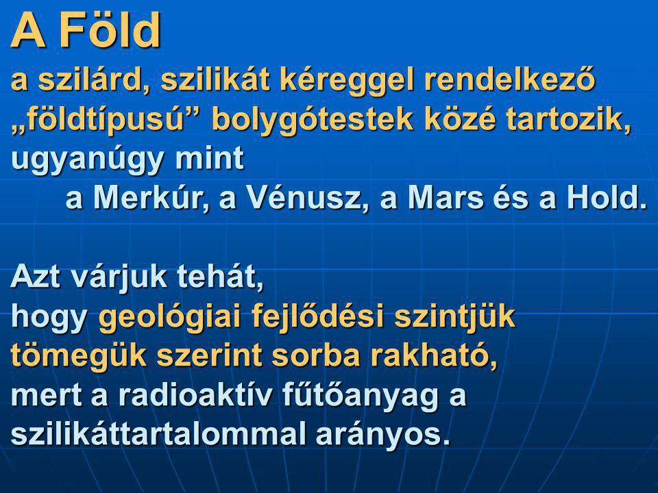 """A Föld a szilárd, szilikát kéreggel rendelkező """"földtípusú bolygótestek közé tartozik, ugyanúgy mint a Merkúr, a Vénusz, a Mars és a Hold."""