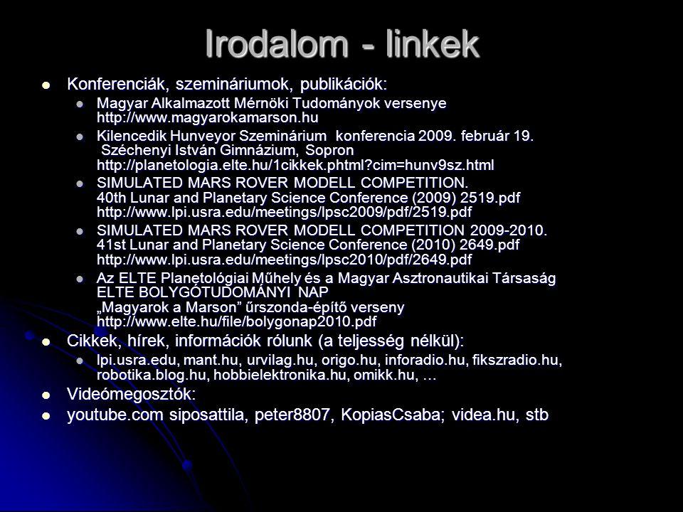 Irodalom - linkek Konferenciák, szemináriumok, publikációk: