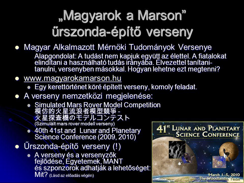 """""""Magyarok a Marson űrszonda-építő verseny"""