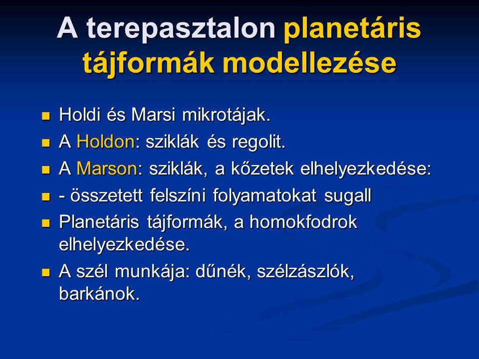 A terepasztalon planetáris tájformák modellezése