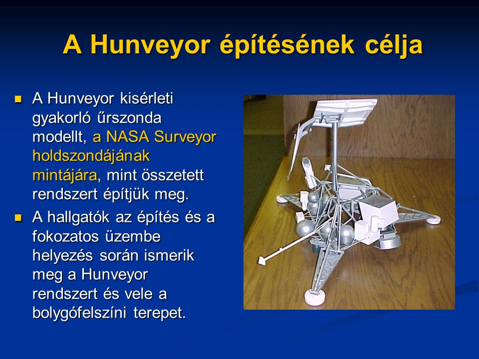 A Hunveyor építésének célja