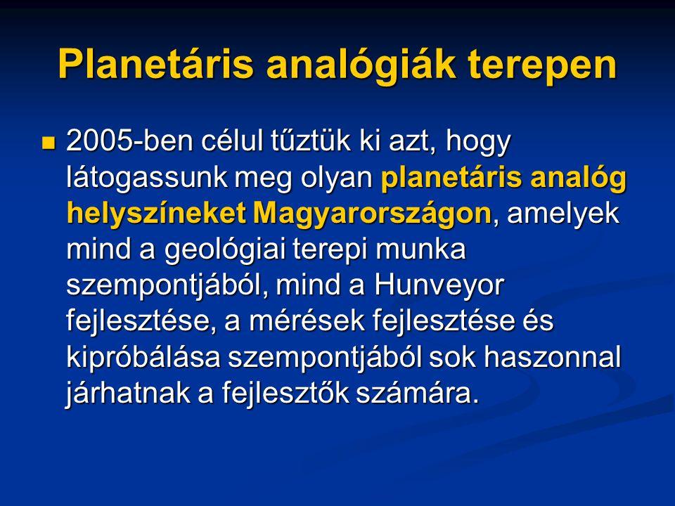 Planetáris analógiák terepen
