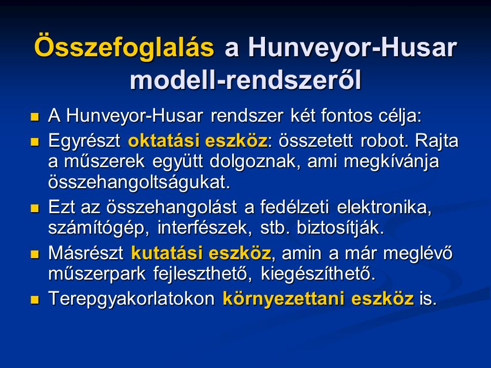 Összefoglalás a Hunveyor-Husar modell-rendszeről