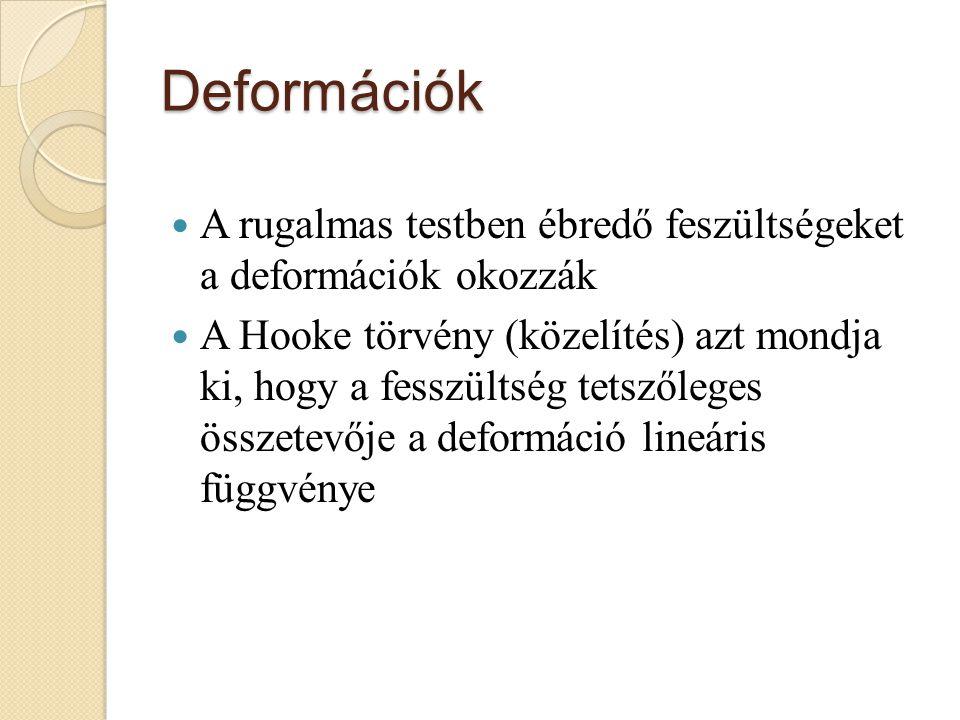Deformációk A rugalmas testben ébredő feszültségeket a deformációk okozzák.