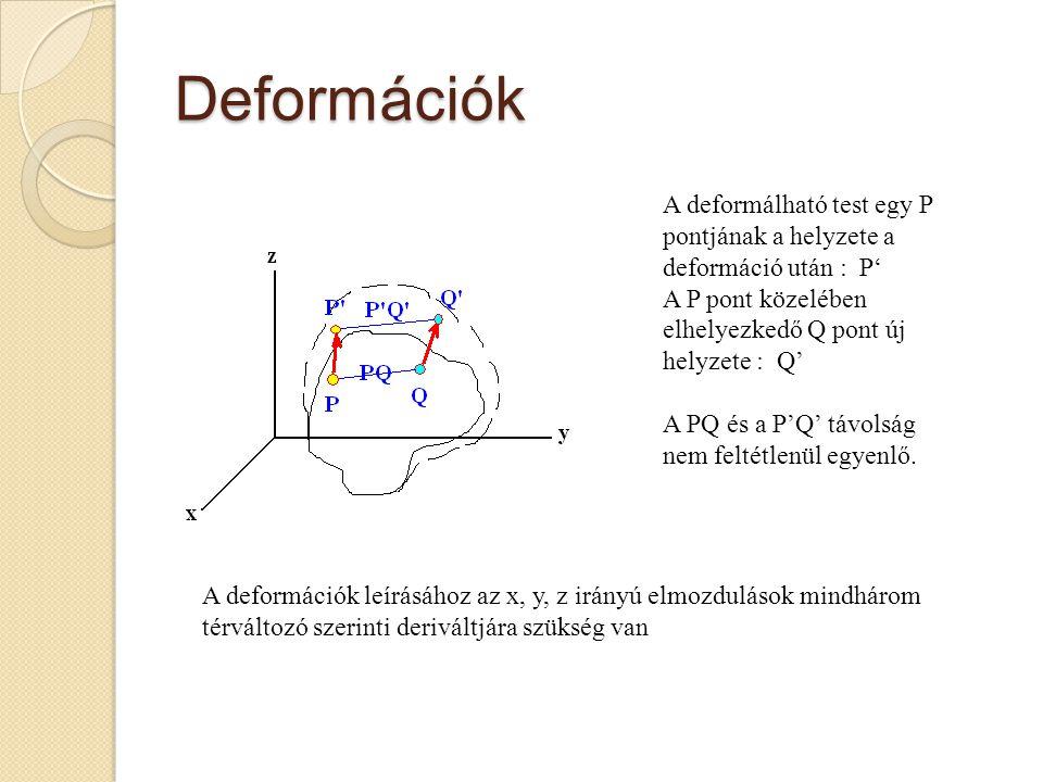 Deformációk A deformálható test egy P pontjának a helyzete a deformáció után : P' A P pont közelében elhelyezkedő Q pont új helyzete : Q'