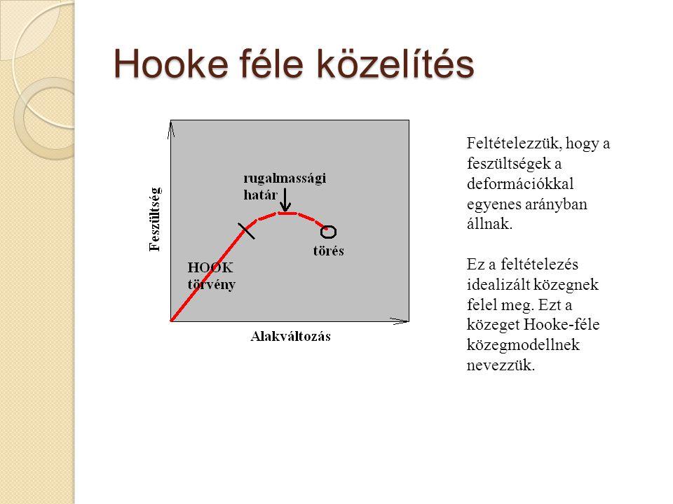 Hooke féle közelítés Feltételezzük, hogy a feszültségek a deformációkkal egyenes arányban állnak.
